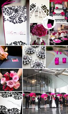 black and hot pink wedding