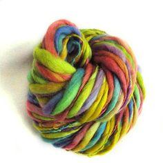 Rainbow chunky merino yarn handspun chunky yarn thick and