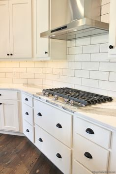 Kitchen Aid 5-Burner gas cooktop in Aledo, IL- New Build Farmhouse Rural Illinois - Village Home Stores Blog At Home Store, New Builds, Illinois, Building A House, New Homes, Kitchen Cabinets, Appliances, Farmhouse, Blog