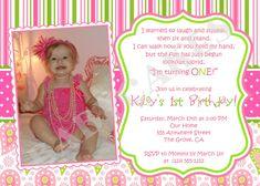 1st Birthday Invitation Photo Invite - DIY Print Your Own. $12.00, via Etsy.