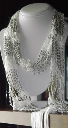 "$14.77 WITH FREE SHIPPING -  Beautiful Ivory Crocheted Scarf or Necklace with Silver Beads by eBay seller ShoppingSpree4Me. =========================  FIND US ON LINE:   1) Go to eBay.com 2) Next to the blue search button click on the word ""Advance""  3) On the Item Menu (left side) click on ""By Seller""  4) Enter the Seller User ID ""ShoppingSpree4Me""  5) Click search  6) This will bring up our current items listed on eBay."