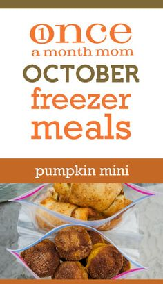 Small freezer cooking menu that is all #PUMPKIN - recipe cards, grocery lists, instructions and more.