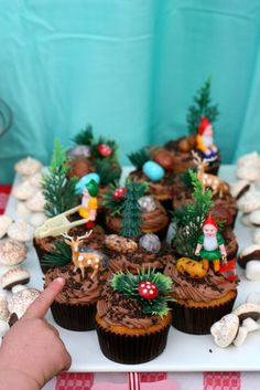must find gnomes for the cake! and I love the tiny trees and animals too.