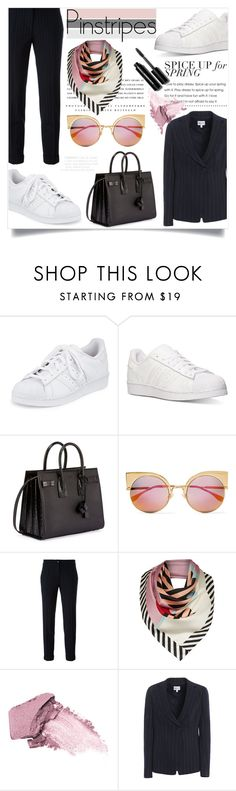 """""""Pinsuit"""" by tauriel25 ❤ liked on Polyvore featuring adidas, Yves Saint Laurent, Fendi, Etro, Kerr®, Lulu Guinness, Elizabeth Arden, Armani Collezioni, Bobbi Brown Cosmetics and office"""