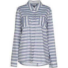 Splendid Shirt ($125) ❤ liked on Polyvore featuring tops, blue, blue top, shirt tops, long sleeve cotton shirts, cotton shirts and long sleeve shirts