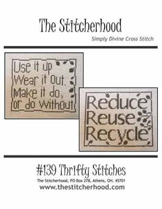 PDF Emailed Reduce, Reuse, Recycle Green Cross Stitch Pattern Sampler Design 139