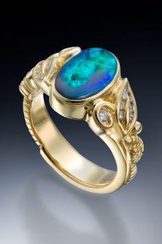 Conni Mainne-Black Opal set with diamonds in 18k gold #opalsaustralia