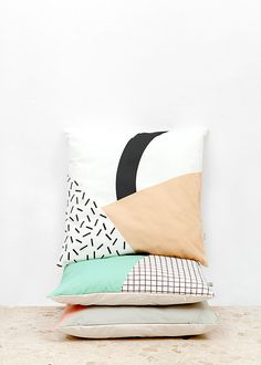Memphis 3 Cushion Cover organic cotton twill by depeapa on Etsy Diy Cushion, Cushion Covers, Toss Pillows, Bed Pillows, Interior Styling, Interior Design, Memphis Design, Boho Cushions, Home And Deco