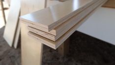"""How to Build a Side-Fold Murphy Bunk Bed: A standard twin-size mattress is 39"""" x 75"""" with bunk mattresses available as shallow as 5"""" deep. If a deeper space is available, modify these instructions for a standard-depth mattress. Start by cutting a sheet of 3/4"""" prefinished plywood into 5"""" strips with a fine toothed blade. Rip eight 5"""" rows out of one sheet. Then trim the strips to create the following pieces: four 76.5"""" x 5"""" and four 39"""" x 5"""". Next cut two 40.5"""" x 76.5"""" pieces out of two more ..."""