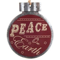 """""""Peace on Earth"""" Metal Disc Ornament 