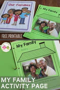 Find activities and ideas for your My Family or All about Me theme unit or lesson plans in your preschool or pre-k classroom.  Kids can draw pictures or add a photo of their family on this free printable activity sheet.  Use as a take-home activity to get parents involved.  Display on the bulletin board or bind all your students' pages together to make a class book to share at circle time or leave in your class library.  Use at Thanksgiving or during the first week too. Language Activities, Literacy Activities, Preschool Activities, Class Library, Class Books, Displaying Family Pictures, Family Theme, Family Wall, Preschool Family