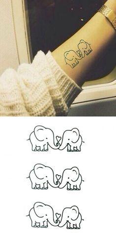 Chic Loving Cartoon Small Elephant Pattern Waterproof Tattoo Sticker For Women – Body Art Dream Tattoos, Cute Tattoos, Beautiful Tattoos, Body Art Tattoos, Small Tattoos, Tatoos, Tattoos For Daughters, Sister Tattoos, Friend Tattoos
