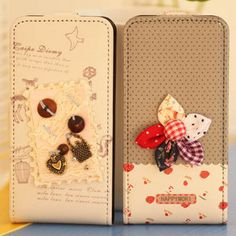 $6.2 iPhone 4 4S holster up and down to open a cartoon flip leather protective sleeve-ZZKKO