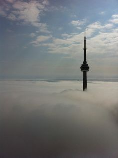 Cloud City - The CN Tower as seen from the storey of First Canadian Place (April Toronto Canada, Toronto City, Canada Eh, Toronto Skyline, Torre Cn, Toronto Photography, Moving To Canada, Cloud City, Above The Clouds