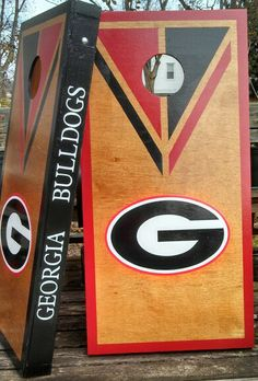 Stained Georgia G cornhole boards game set. Tailgating bag toss