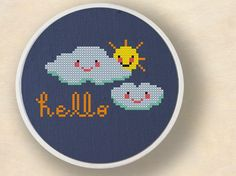 +This item is available for instant digital download*    A Hello, Said the Clouds to the Sun counted cross stitch pattern! Use the cross-stitch
