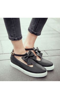 Black T-Strap Bow Loafers