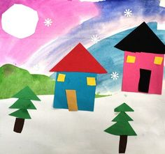winter scene-painted background with paper trees and houses