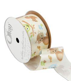 """Offray Forest Fox 1-1/2"""" Ribbon White"""