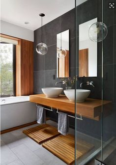 Contemporary bathroom design or the bathroom, one of the very visual pieces of a contemporary home! Get inspired and pick a best idea for your next bathroom renovation. Contemporary Bathroom Designs, Modern Interior Design, Contemporary Design, Modern Decor, Interior Paint, Minimal Decor, Luxury Interior, Modern Townhouse Interior, Interior Ideas