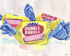 Watercolor Painting Illustration Art Dubble Bubble Gum Candy, Watercolor Art Print, 11x14 Wall Art, Candy Series no. 2