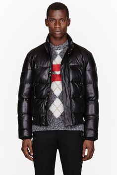 Givenchy Black Leather  Down Quilted Jacket for men | SSENSE