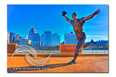 PNC Park - beautiful baseball facility, spent a number of times wandering around, capturing the beauty of the architecture. A series of statues reside outside the stadium of Pittsburgh Pirate heroes long gone. This image captures Bill Mazeroski's statue - a moment frozen forever of his famous home run trot after beating the Yankees in the 1960 World Series.  Photographed April 2011 . . .  https://www.etsy.com/listing/118429349/pnc-park-iii-pittsburgh-pa?ref=shop_home_active_2