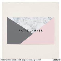 Chique cinzento cor-de-rosa de mármore branco cartão de visitas