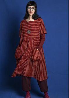 Gestreiftes/einfarbiges Kleid aus Öko-Baumwolle 75704-24.tif