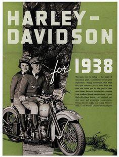 Advertising; Harley Davidson vintage advertisement from 1938   #Wisconsin #advertising #vintage #harleydavidsontrikeproducts