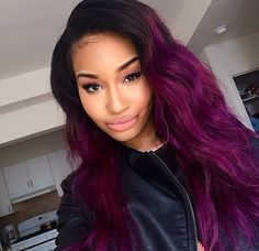 Lot Ombre and Purple Brazilian Human Hair Extensions Body Wave Brazilian Hair Weave Bundles Ombre Purple Hair Weave Love Hair, Gorgeous Hair, Weave Hairstyles, Pretty Hairstyles, Winter Hairstyles, Ombre Hair At Home, Looks Halloween, Curly Hair Styles, Natural Hair Styles