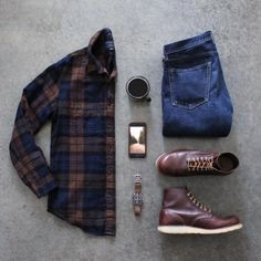 by -Shirt: jcrew Factory-Denim: jcrew Wallace & Barnes-Boots: redwingheritage crownandbuckle Natural Chromexcel- Flannel Outfits, Casual Fall Outfits, Men Casual, Lumberjack Style, Mens Trends, Outfit Grid, Fashion Outfits, Mens Fashion, Gentleman Style