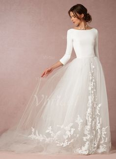 Vbridal - A-Line/Princess Scoop Neck Sweep Train Tulle Jersey Wedding Dress With Appliques Lace (0025088662)