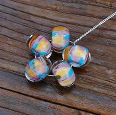 Mosaic SW  Set of 5 Encased Lampwork Beads  Dan O Beads by koregon