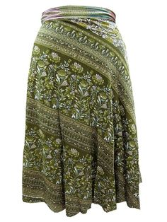 Green Double Layer Wrap Floral Print Casual Wear Sarong Magic Skirt