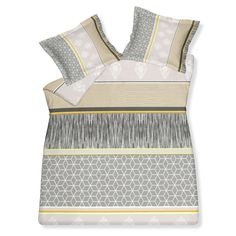 Bedding in shades of grey and yellow.