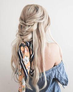 """Loving this hair scarf trend! working on some tutorials for @luxyhair — wearing the shade platinum blonde, use code """"kassandra"""" for a…"""