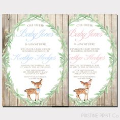 Oh Deer Baby Shower Invitation  Woodland Baby by PristinePrintCo
