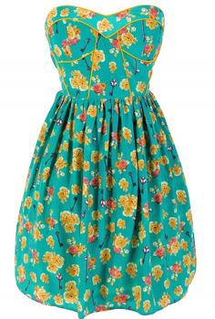 Key To My Heart Printed Designer Dress by Minuet in Teal $50