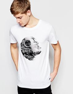 Jack+&+Jones+x+Star+Wars+T-Shirt+with+The+Death+Star+Flock+Print