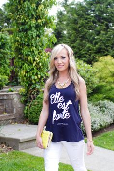 The Original: Elle est forte She is strong by SheIsClothing She Is Clothed, Navy Women, Racerback Tank, Fashion Forward, Strong, Couture, The Originals, Tank Tops, Sleeves