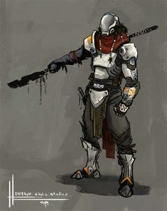 Drifter dude again by Parkhurst Love this robo arm! Fantasy Character Design, Character Concept, Character Inspiration, Character Art, Armor Concept, Concept Art, Drawing Poses Male, Arte Sci Fi, Futuristic Armour