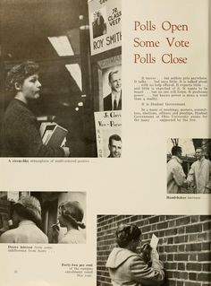 """Athena Yearbook, 1958. """"Polls Open Some Vote Polls Close"""" """"In a maze of meetings, posters, committees, elections, officers and prestige, Student Government at Ohio University exists for the many...supported by the few."""" :: Ohio University Archives"""
