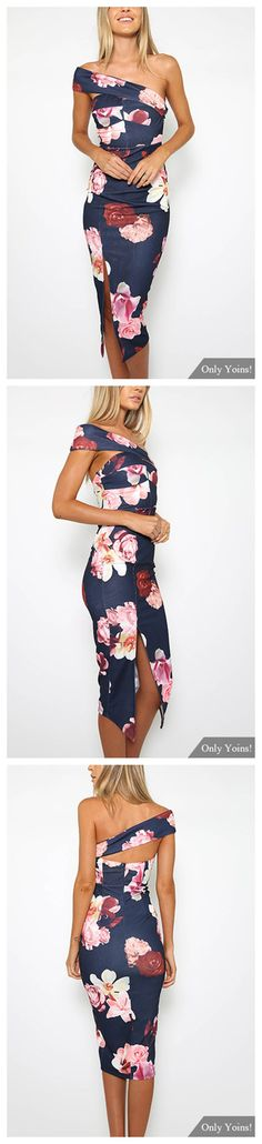 One Shoulder Random Floral Print Splited Hem Dress