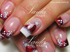 Christmas Nails. Snowflakes on red French manicure Nail Design, Nail Art, Nail Salon, Irvine, Newport Beach