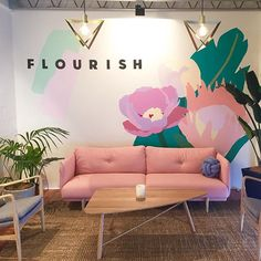Bad phone pic but just wanted to show my first mural for @flourish_pr in its setting this morning. Now to get onto a huge day painting the big main mural