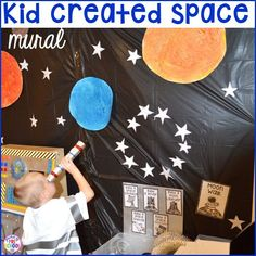 How to make your center into a space station and add math, literacy, and STEM into their play. For preschool, pre-k, and kindergarten. Dramatic Play Themes, Dramatic Play Area, Dramatic Play Centers, Pre K Activities, Space Activities, Sistema Solar, Baby Design, Space Theme Preschool, Space Classroom