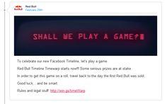 Facebook Unternehmenschronik: Red Bull nutzt diese für eine ganz starke Marketingkampagne. Ich gebe zu, dass ich das Projekt gerne bei LANGEundPFLANZ // Agentur fūr New Marketing realisiert hätte. :-)