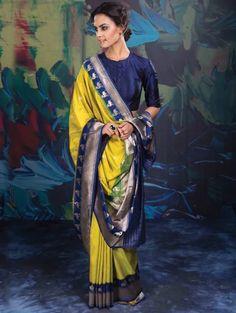 Yellow and Blue Banarasi Silk Saree with Weaving Work