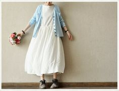 White Dot Blue Joining together Dress Loose Cotton by clothingshow Cotton Long Dress, Long Sweater Dress, Spring Blouses, Spring Tops, Maxi Outfits, Casual Outfits, Simple Dresses, Casual Dresses For Women, White Dress Summer